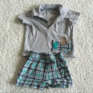 Carters 2 Piece Matching Plaid Gray Outfit